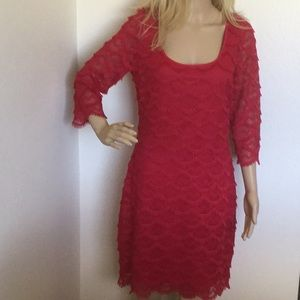 Guess Red Fringed Dress. Fully Lined Size. 12